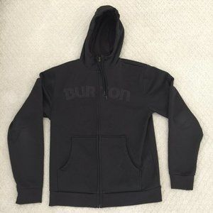 Burton Zip Up Black Hoodie Spell Out Size Small